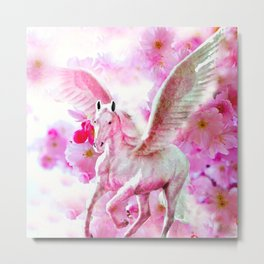 HORSE PINK FANTASY CHERRY BLOSSOMS Metal Print
