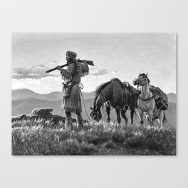 Boone- Ever Westward Black and White Canvas Print