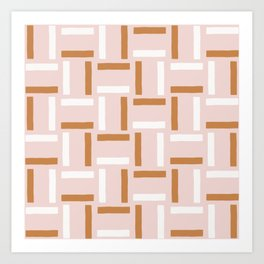 Peachy Stripe Line Weave Art Print