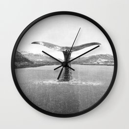 Whale In A French Lake in Black And White Wall Clock