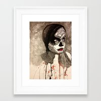 sugar skull Framed Art Prints featuring sugar skull  by Joedunnz