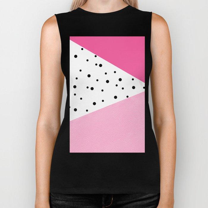 Black dots & pink leader Biker Tank