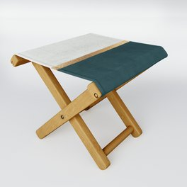 Deep Green, Gold and White Color Block Folding Stool