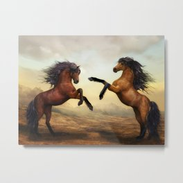 The Dueling Stallions Metal Print