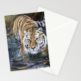 Tiger in the Water - Oil Painting - Original Art Stationery Cards