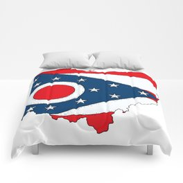 Map of Ohio with State Flag Comforters