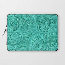 Turquoise Tooled Leather Print Laptop Sleeve
