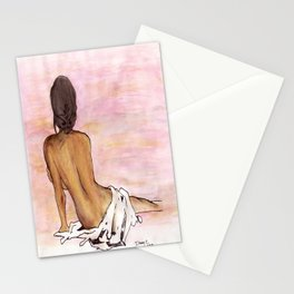 Seated female's back Stationery Cards