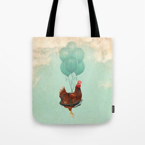 """Chickens can't fly (""""The sky is falling!"""") Tote Bag"""