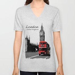 Big Ben London Red Double Decker Bus Unisex V-Neck