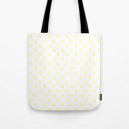 Electric Yellow on White Snowflakes Tote Bag