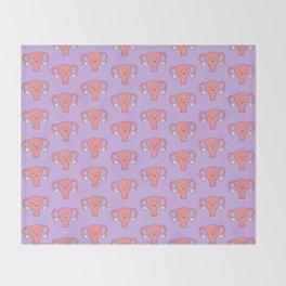 Patterned Happy Uterus in Purple Throw Blanket