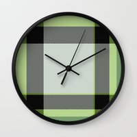 green pattern Wall Clocks featuring Pattern Green by Fine2art