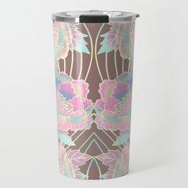 Peonies Pattern with Waves - Pastel Rainbow Travel Mug