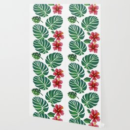Hibiscuses and Palm Leaves Wallpaper