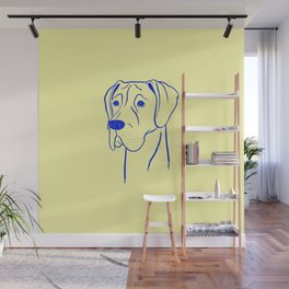 Great Dane (Yellow and Blue) Wall Mural