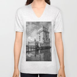 Belem Tower Black white photo Unisex V-Neck