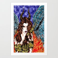 angel or demon in color Art Print