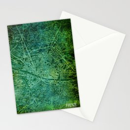 Florence 1890 green old map Stationery Cards