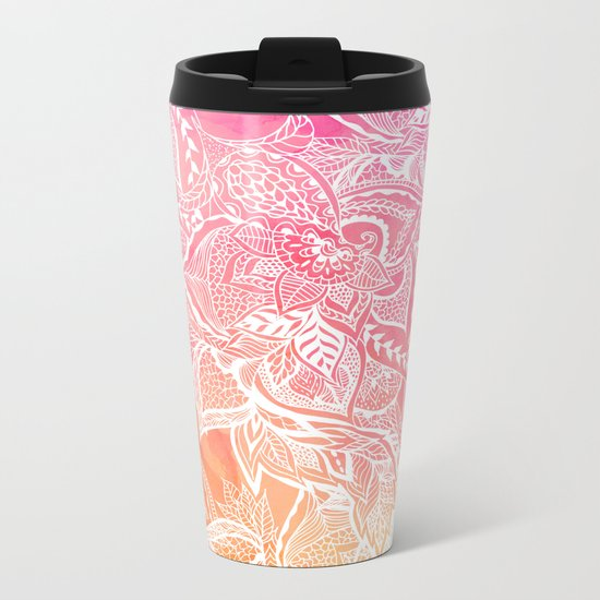Modern pink coral ombre sunset watercolor floral white boho hand drawn pattern Metal Travel Mug
