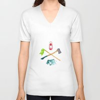 camping V-neck T-shirts featuring Camping by Whimsy Milieu