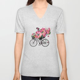 floral bicycle Unisex V-Neck