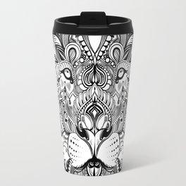 Black And White Geometric pattern mandala lion face Travel Mug