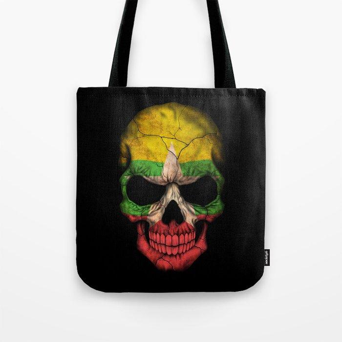 Dark Skull with Flag of Myanmar Tote Bag