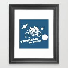 Tandems in Space in Blue Framed Art Print