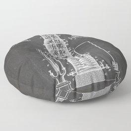 Whisky Patent - Whisky Still Art - Black Chalkboard Floor Pillow