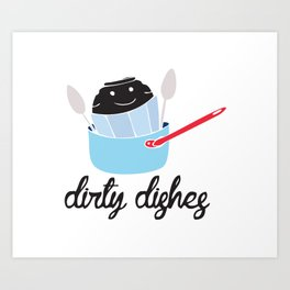dirty dishes (boy) Art Print