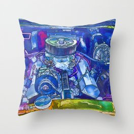 A View of a Motor Car Engine Throw Pillow