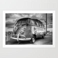 Monochrome German Camper Van Art Print