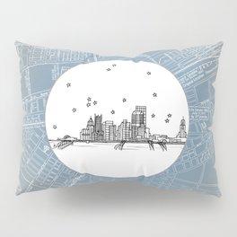Pittsburgh, Pennsylvania City Skyline Illustration Drawing Pillow Sham