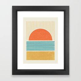 Sun Beach Stripes - Mid Century Modern Abstract Framed Art Print