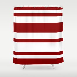 Mixed Horizontal Stripes - White and Dark Red Shower Curtain
