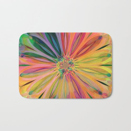 Tropical Rainbow Daisy Bath Mat