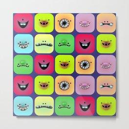 Cube creatures pattern Metal Print