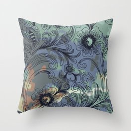 Floral Line Art with Watercolor Throw Pillow