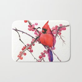 Red Cardinal and Berries, Christmas Red design Christmas Decor Gift Bath Mat