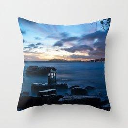 Tardis On The Sea Stone Throw Pillow