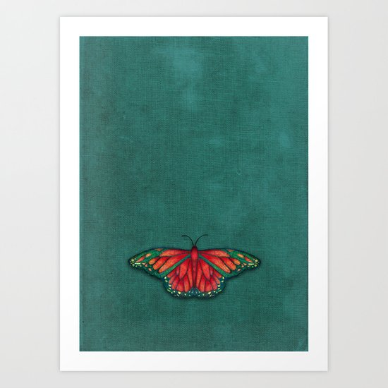 Butterfly in Jewel Colors on Teal Linen Art Print