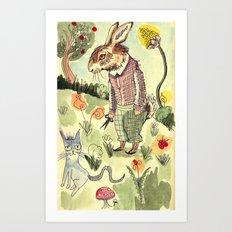 Rabbits Garden Art Print