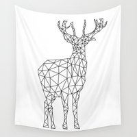 polygon Wall Tapestries featuring Polygon Reindeer by AycaAtalayCreative
