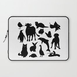 ANIMALS PATTERN Black Silhouette Pet Animal Cool Style Laptop Sleeve