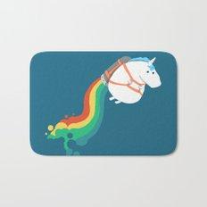 Fat Unicorn on Rainbow Jetpack Bath Mat