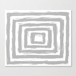 Minimal Light Gray Brush Stroke Square Rectangle Pattern Canvas Print