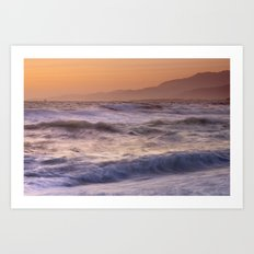 Strong waves. Sunset at the beach Art Print