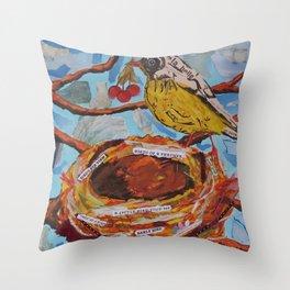 La Belle Bird & Nest Throw Pillow
