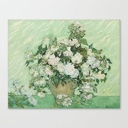 Vase with Pink Roses - Vincent Van Gogh Canvas Print